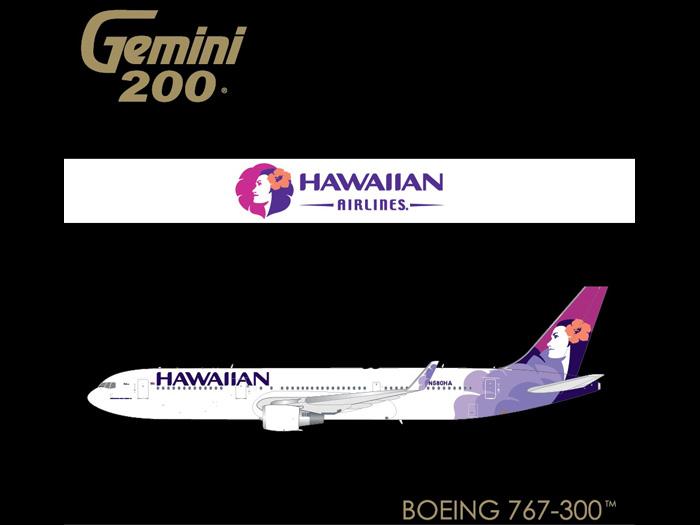 Hawaiian 767-300W N580HA (1:200) by GeminiJets 200 Diecast Airliners